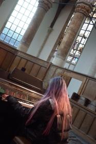 Oude Kerk Woman Playing Mellotron